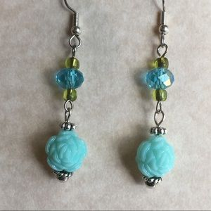 Green Blue Earrings Rose Glass Beaded Silver Tone